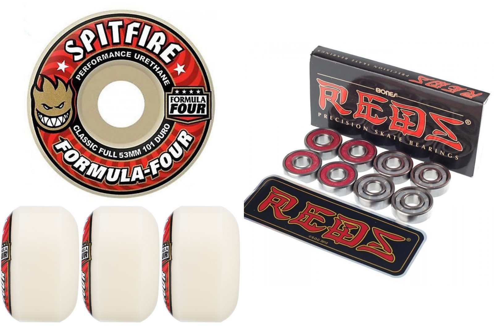 Spitfire Skateboard Wheels F4 Formula 4 Four Red 53mm 101d Classic Full with Bones Reds Bearings new FREE POST