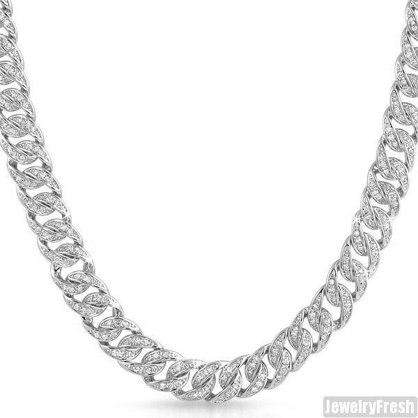 White gold finish silver iced out miami cuban chain mens necklace ebay 10mm wide 650 carats 105g weight top quality hip hop jewelry aloadofball Image collections