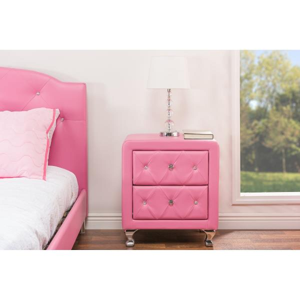 Exceptionnel Pink Faux Leather Crystal Bedside Table 2 Drawer End Side Storage Furniture  Tuft
