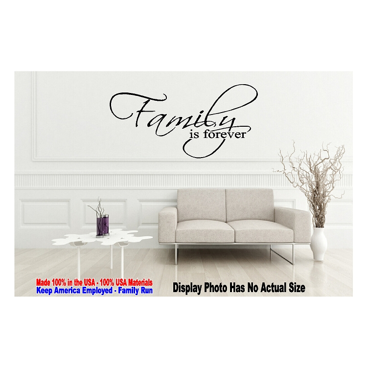 Details about Family is Forever Vinyl Decal Love Unity Inspirational Window  Wall Quote Decor