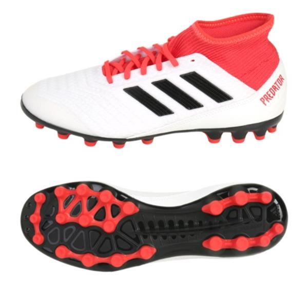 Adidas Men Predator 18.3 AG Cleats Soccer White Red Football Shoes ... 89ed7f983