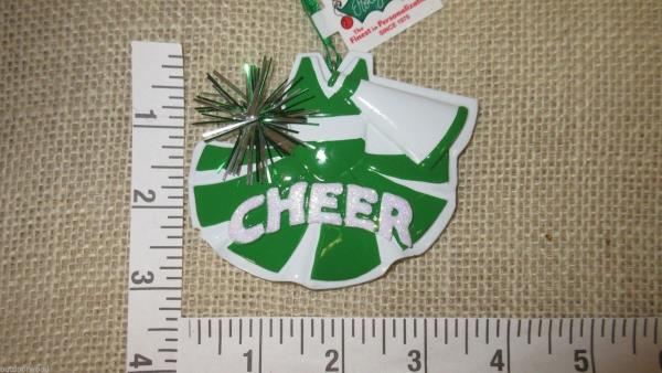 Cheerleader Green Uniform Brown Personalized Christmas Tree Ornament