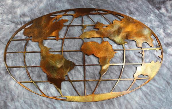 Metal art world map copper and bronze plated metal wall art decor ebay powered by ebay turbo lister the free listing tool list your items fast and easy and manage your active items gumiabroncs Gallery