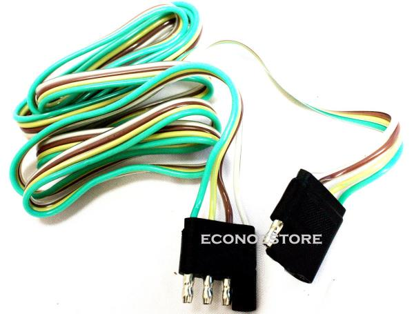 5 ft 4 WAY FLAT TRAILER LIGHT WIRE EXTENSION CORD PLUG LONG WIRE ...
