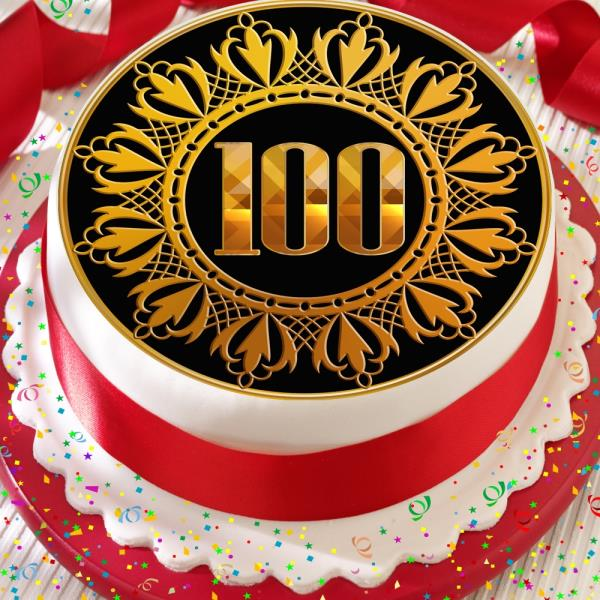 GOLD 100TH AGE 100 BIRTHDAY ANNIVERSARY PRECUT EDIBLE CAKE TOPPER DECORATION