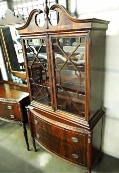 Fine Sheraton Dining Set Chairs Table Breakfront China Cabinet Sideboard Server