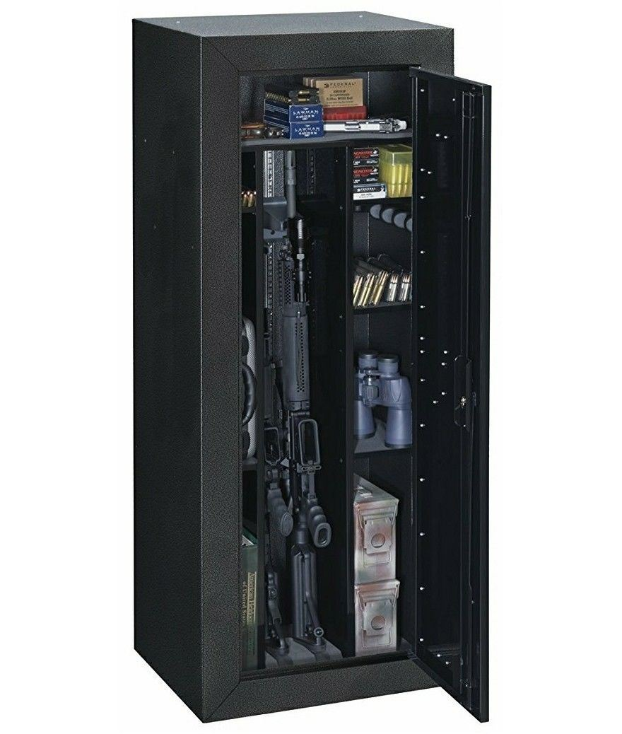 Stack On 16 Gun Steel Tactical Security Cabinet U0026 Racks Key Lock Safe, Black