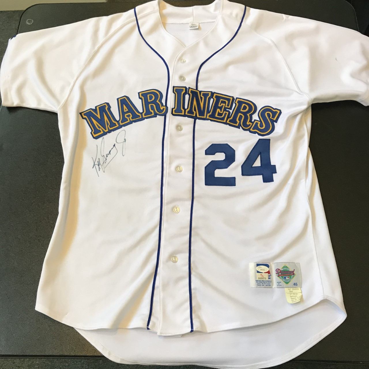 buy online a02e6 a8610 Details about Rare Ken Griffey Jr. Signed Game Used 1992 Seattle Mariners  Jersey JSA COA