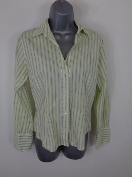 Womens Austin Reed Green White Striped Button Up Long Sleeved Casual Shirt Uk 10 Ebay