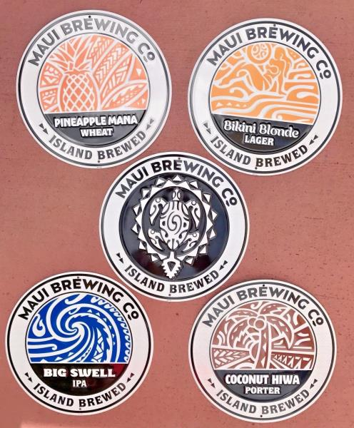 Details about Maui Brewing Company Hawaii Tin Metal Beer Bar Sign SET of 5  New Designs