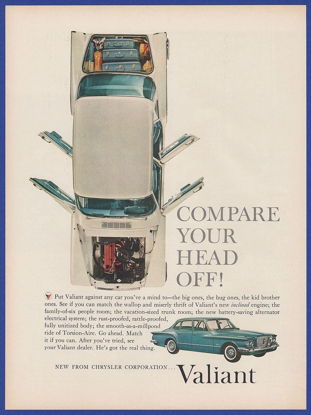 Vintage 1960 Chrysler Valiant Automobile Car Classic Rare Print Ad Plymouth For Sale I Combine Shipping At No Extra Charge Add 3 Or More Ads To The Cart And Receive Free Checkout