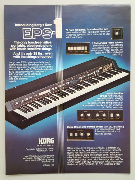 Details about 1982 Korg EPS Portable Electric Piano Keyboard Music Vintage  Magazine Print Ad