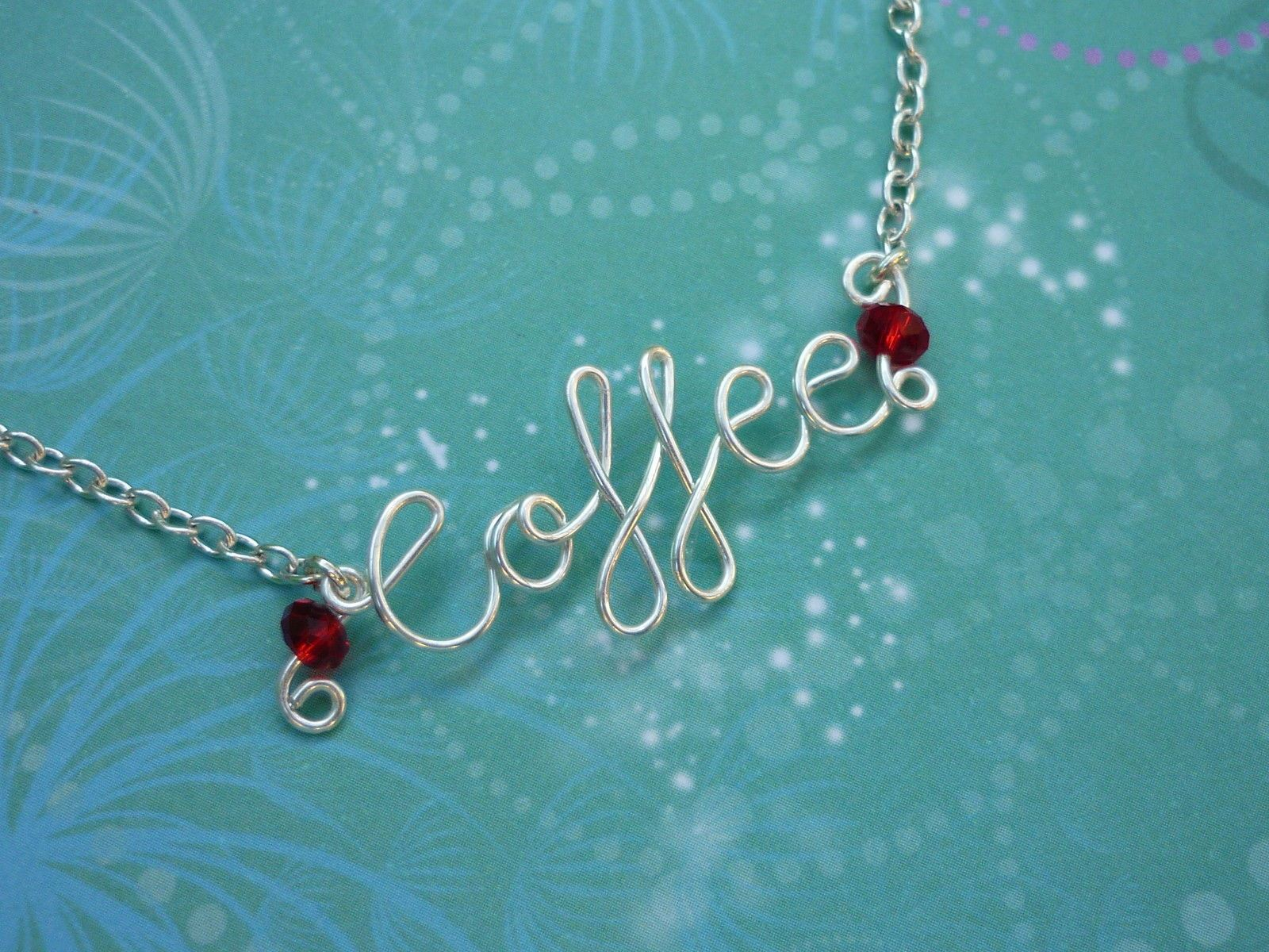 Personalised Name Necklace with Birthstones - Silver or Gold Wire a ...