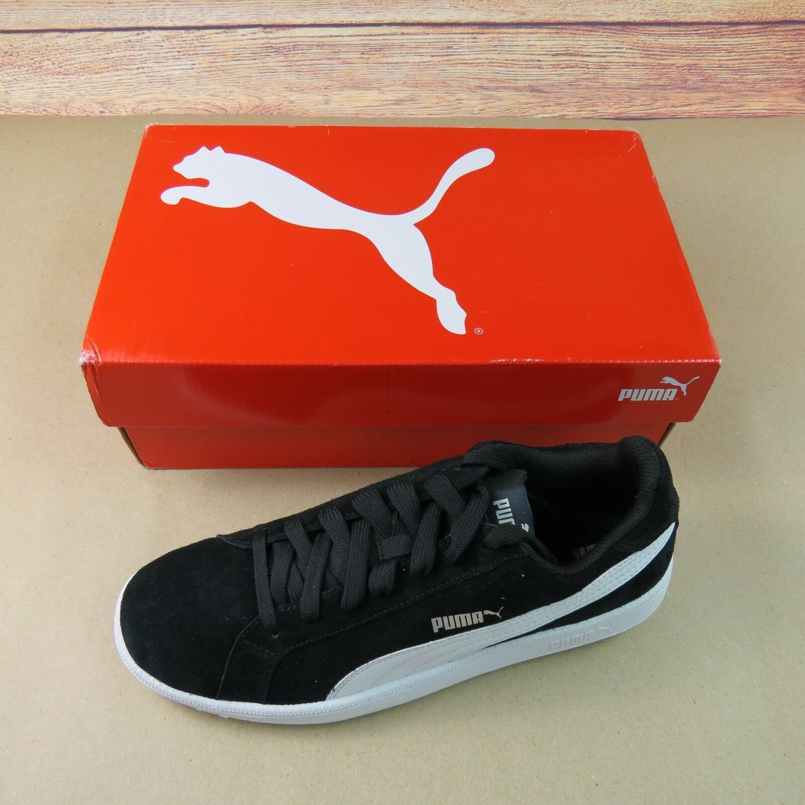 Details about Puma Smash SD Size 10 Black and White Suede Fashion Sneakers 361730 01