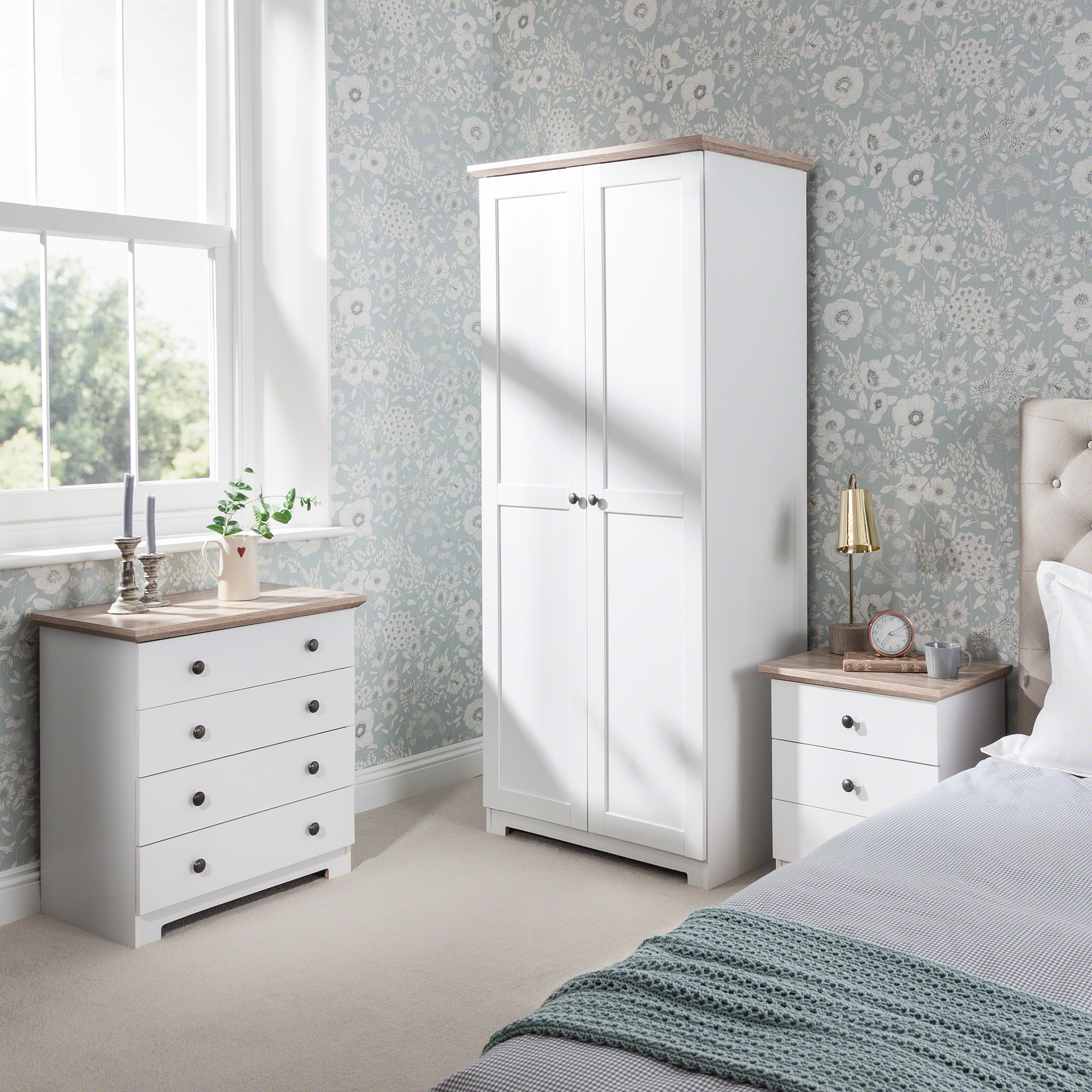 Details about Bedroom Furniture Set includes wardrobe, 4 drawer chest,  bedside table in White