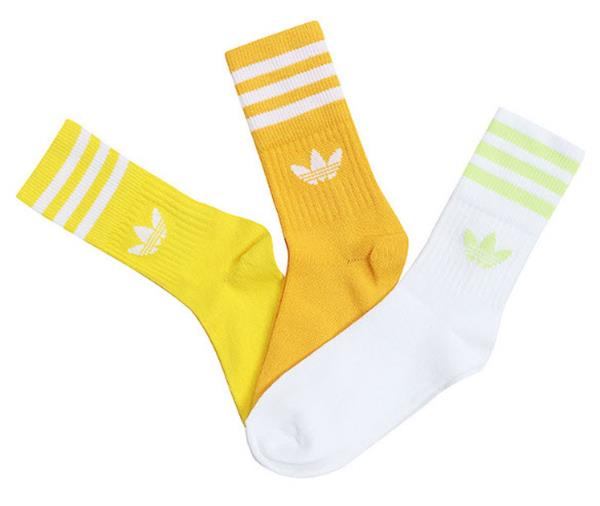 Details about Adidas Men MID CUT Crew 3 Pairs Socks Orange Casual Running Fashion Sock ED9397