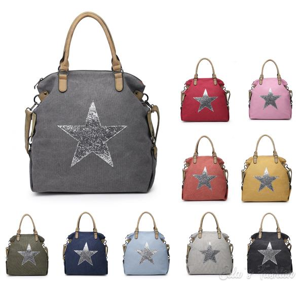 New Women Expandable Shiny Glitter Star Canvas Shoulder Bag Messenger Handbag