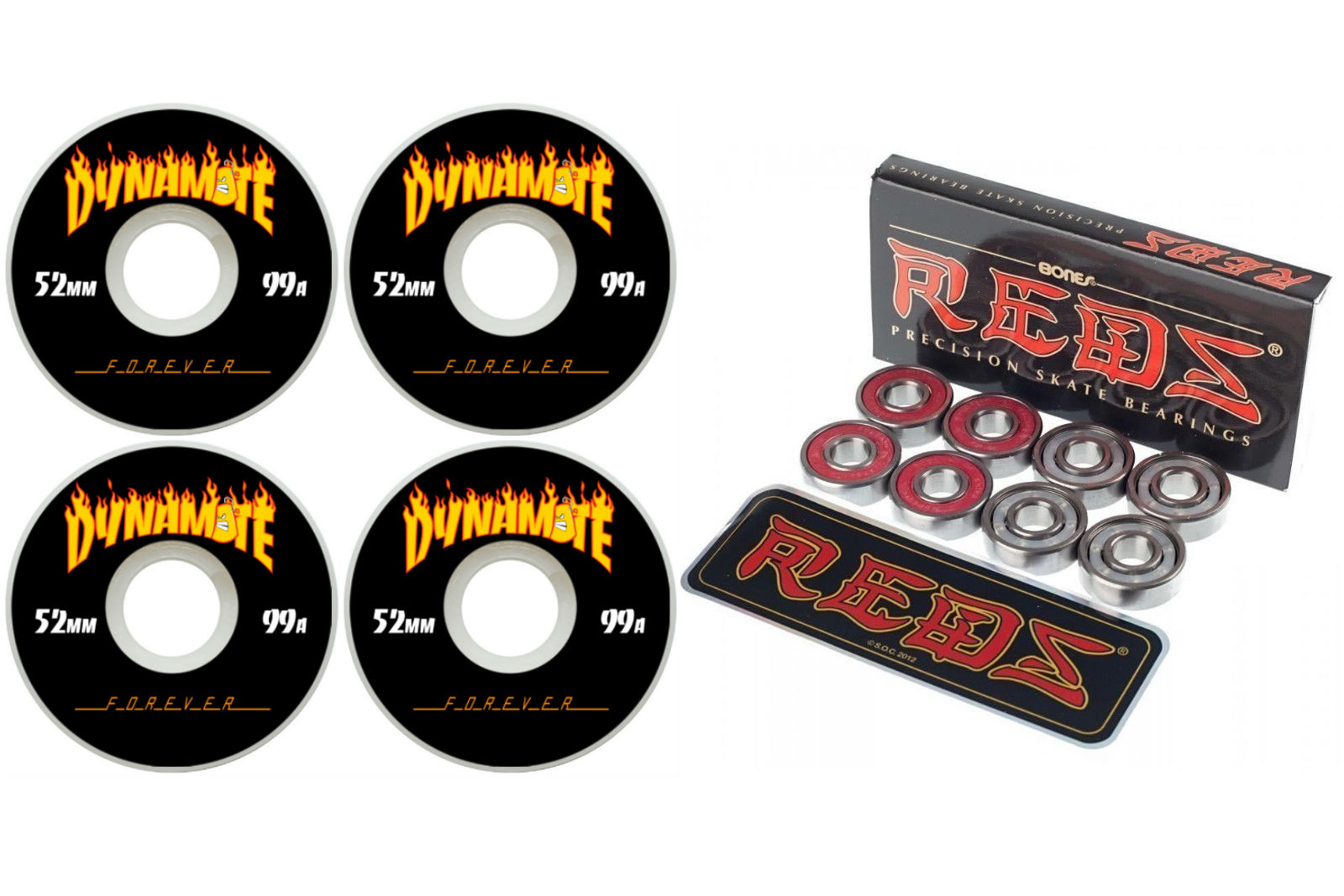 Dynamite Forever 52mm Thrashed Skateboard Wheels with Bones Reds Bearings FREE POST