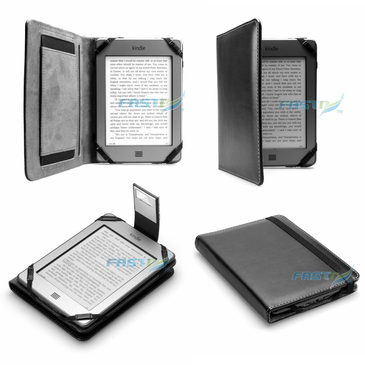 Details about PREMIUM BLACK PU LEATHER KINDLE TOUCH / 4 WiFi CASE COVER  WALLET WITH SLIM LIGHT