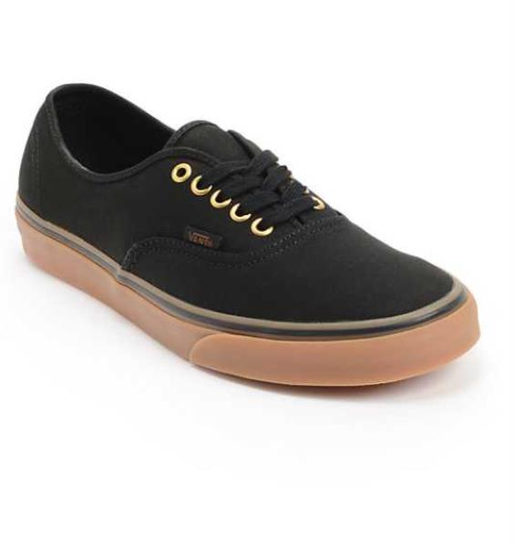 Details about NEW IN BOX MEN'S 7.5 16 VANS AUTHENTIC BLACK RUBBER GUM /  GOLD SKATE SHOES
