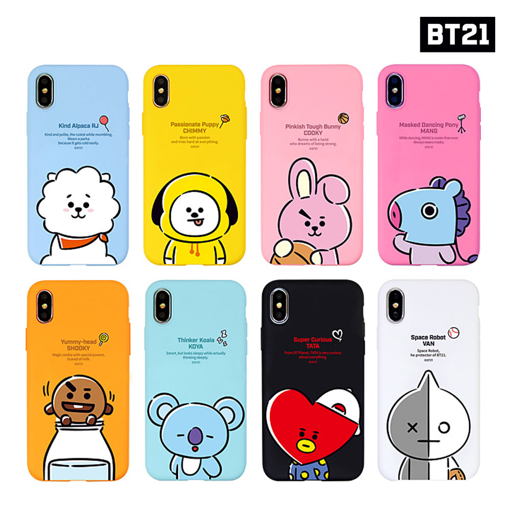 competitive price bb0c2 8037e Details about BTS BT21 Official Goods Hang Out Soft Case for iPhone / Galaxy