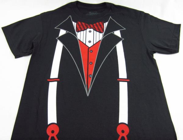 Mens New Spencers Black Tuxedo T Shirt With Suspenders