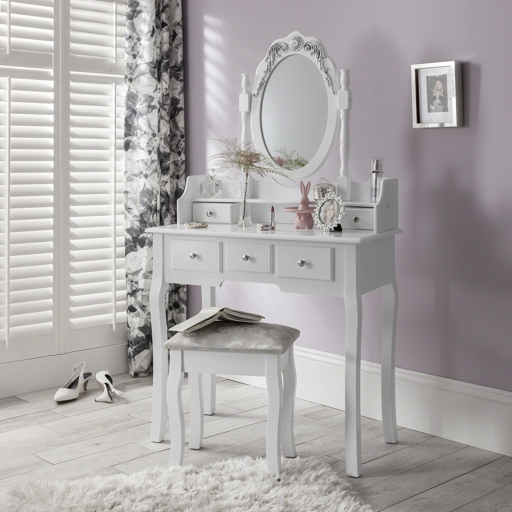 Capri white dressing table mirror and stool set dresser ebay - Amazon bedroom chairs and stools ...
