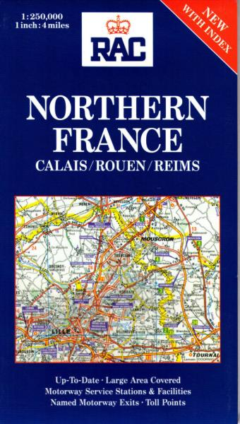 Motorway Map Of France.Northern France New Rac Regional Map France 1 250 000 Index Calais