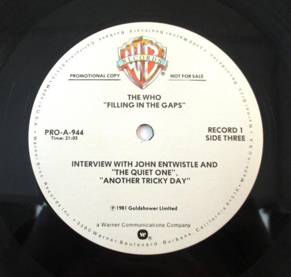 THE WHO FILLING IN THE GAPS 2 LP PROMO ONLY VINYL INTERVIEW
