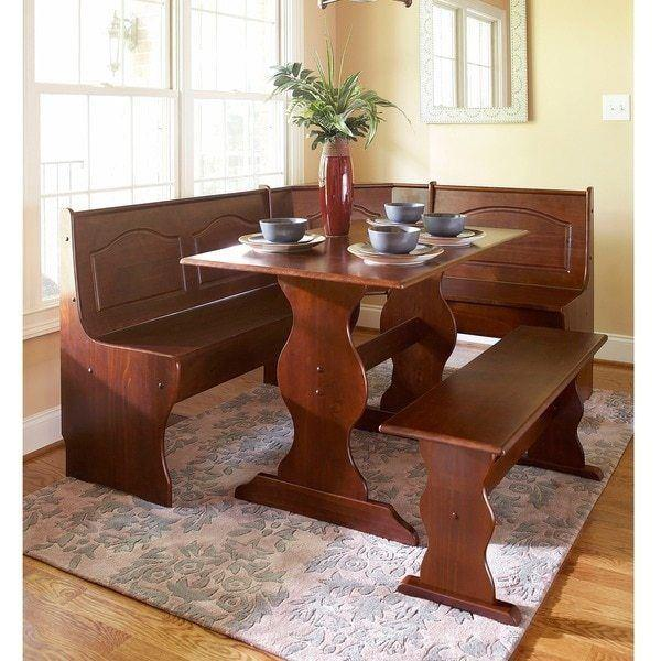 3 Pc Walnut Wooden Breakfast Nook Dining Set Corner Booth