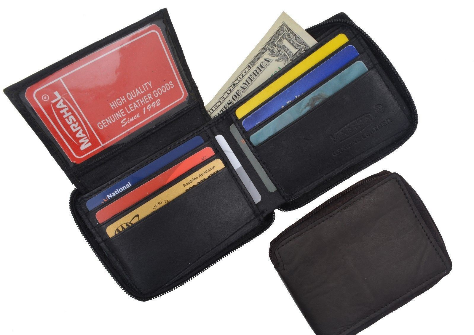 49ace0be62fa Details about Genuine Leather Mens Zipper Zip Around ID Credit Card Bill  Holder Bifold Wallet