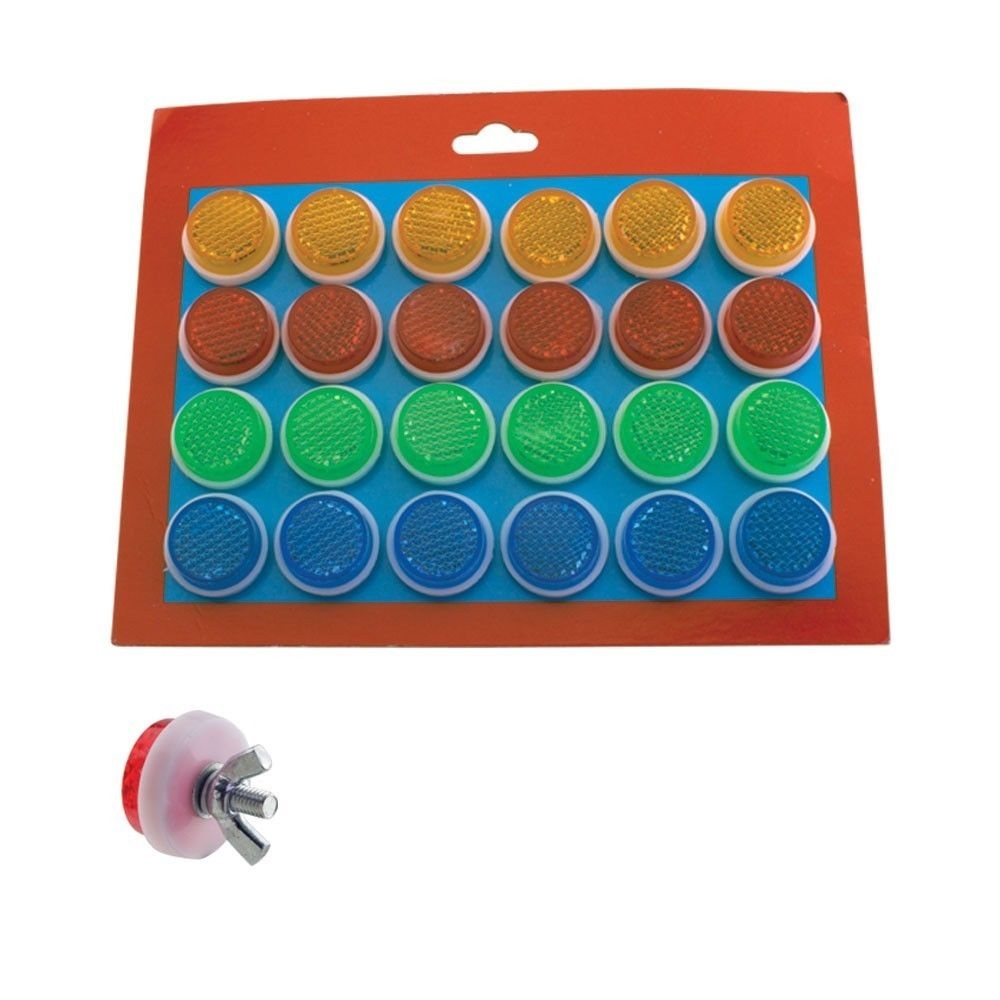 Orange BicycIe Mini Round RefIector 24PCS Various Colors Red Green/&Blue 210404
