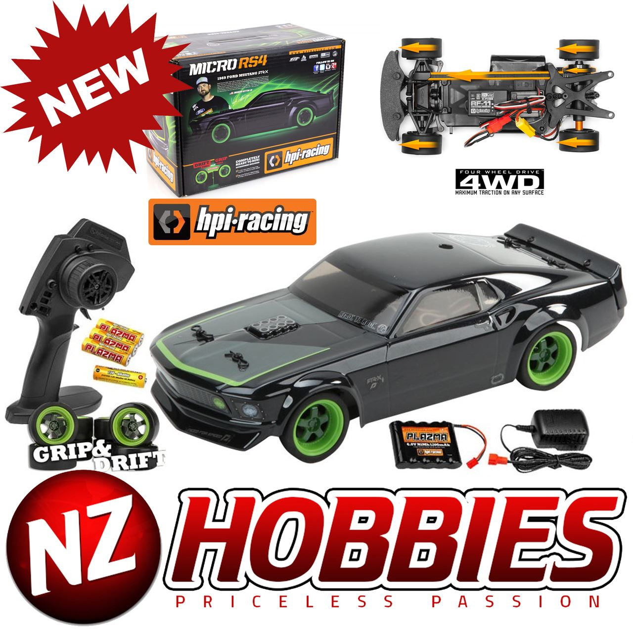 Details about hpi 112468 micro rs4 69 ford mustang rtr x 1 18 scale w 2 4ghz radio