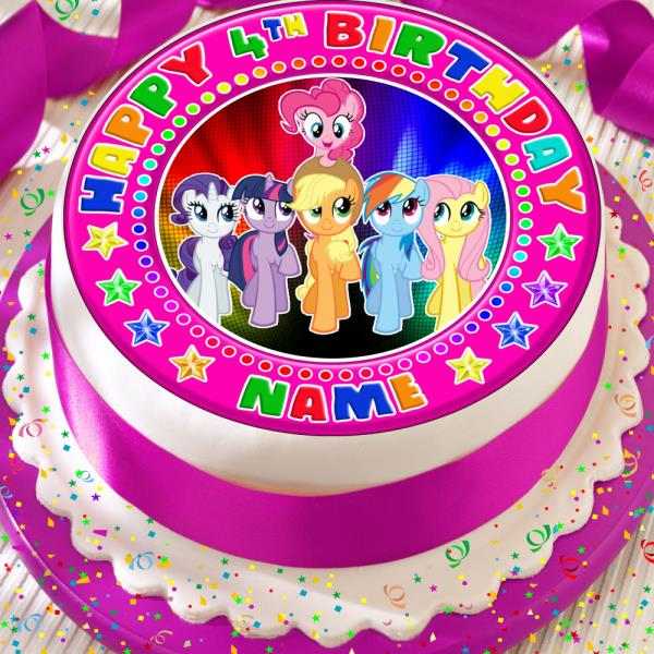 My Little Pony Birthday Personalised Precut Edible 75 Inch Birthday