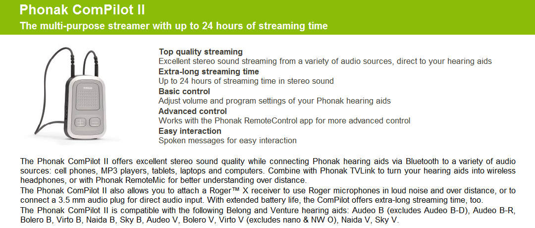 Details about Phonak ComPilot II Bluetooth Streamer and Remote Control