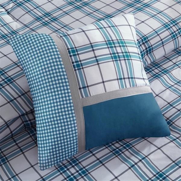new twin xl full queen king bed 5 pc teal blue white plaid comforter set sporty - Plaid Comforter