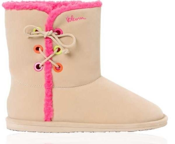 SIZE 10 Women/'s Volcom IN LOVE Tan Boots Pink Sherpa New