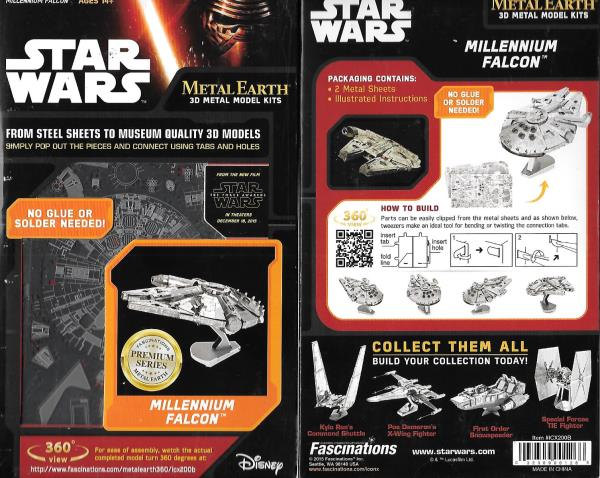 Details about Star Wars Millennium Falcon Metal Earth 3-D Laser Cut Steel  Large Model Kit NEW