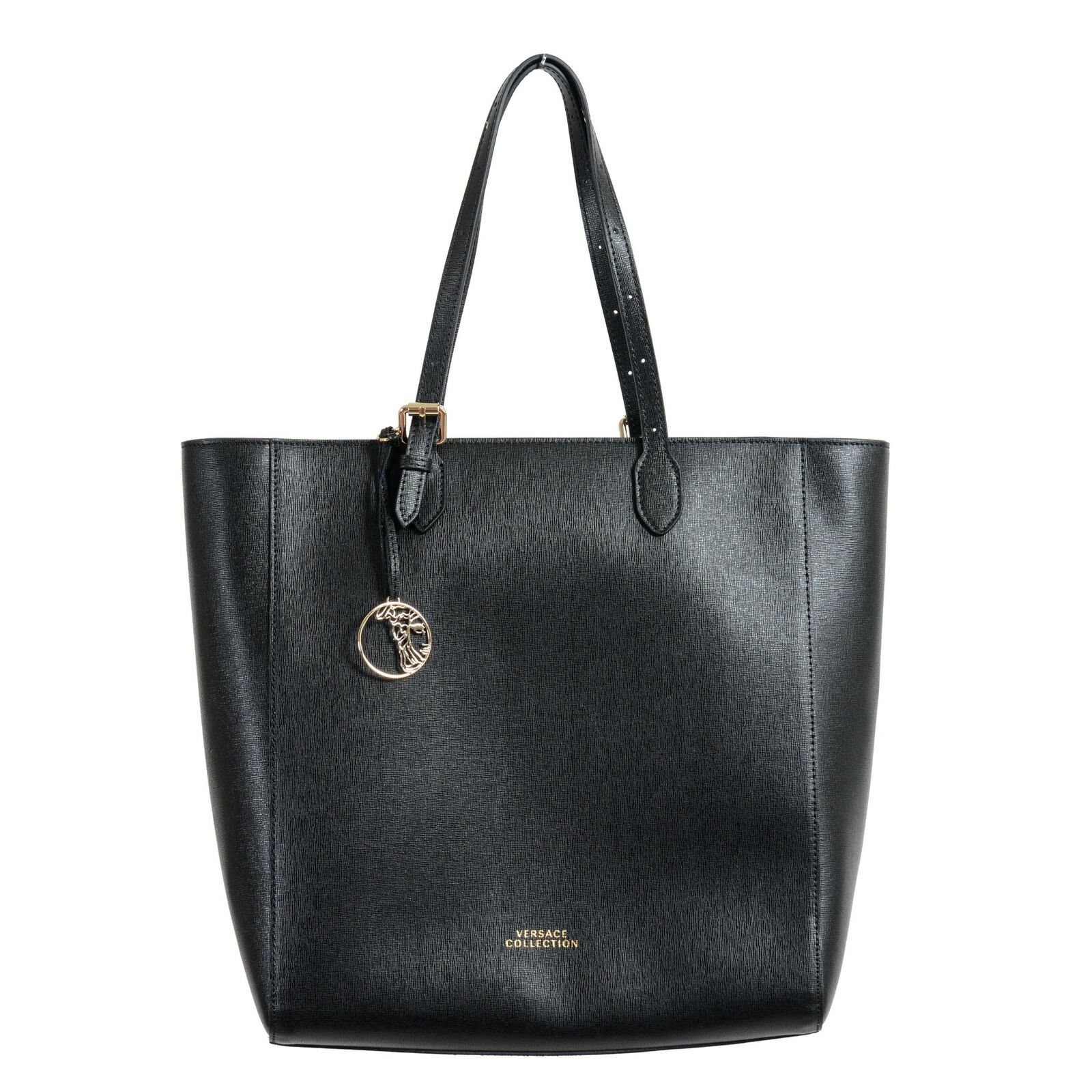 cc2e0a49d762 Details about Versace Collection Saffiano Black Leather Tote Shoulder Bag