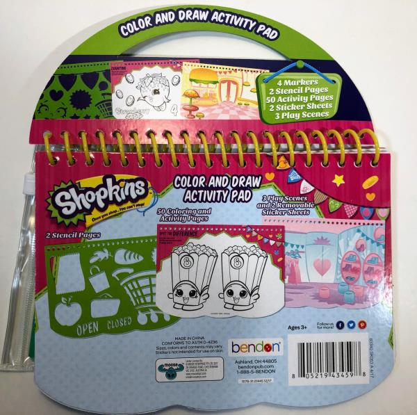 Details About Shopkins Color Draw Activity Pad Markers Stencil Stickers And 3 Play Scenes