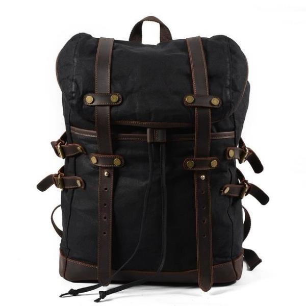 47565e7300fc Fashion Backpack Leather Canvas Men s Women s Backpack School Bag ...