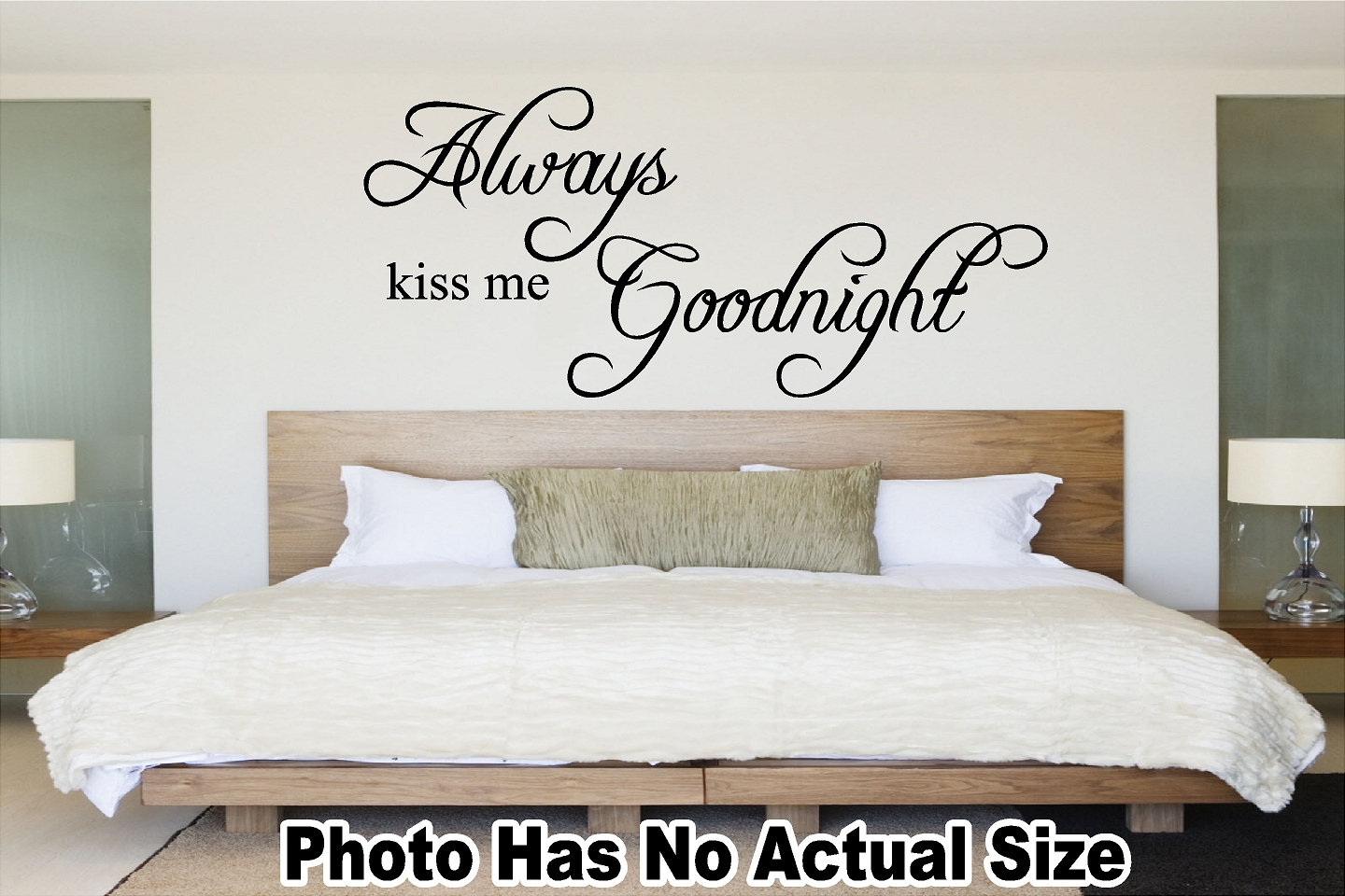 Always Kiss Me Goodnight Vinyl Decal Removable Wall Quote Home ...