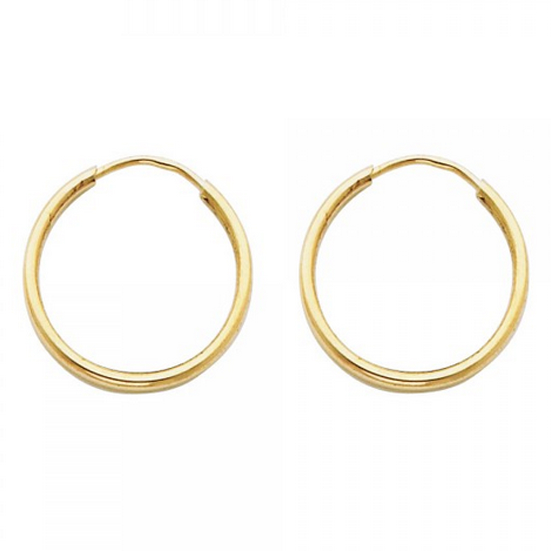 14K Yellow Gold Polished 11mm Round Endless Hoop Earrings