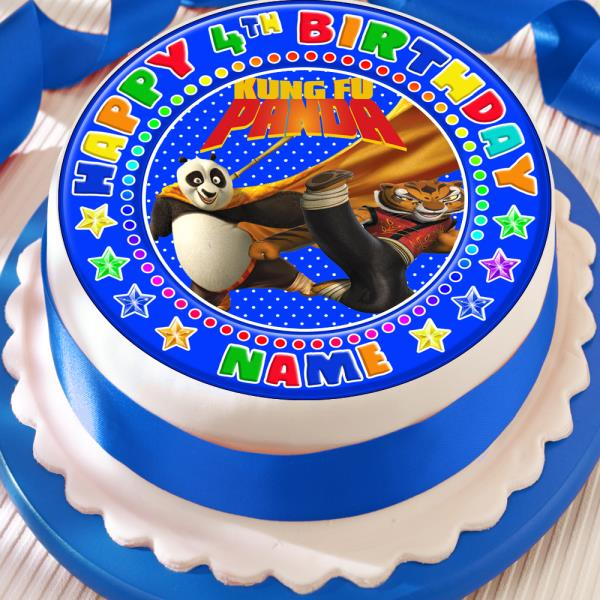Kung Fu Panda Happy Birthday Personalised 75 Inch Precut Edible