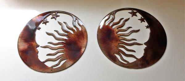 """The Moon the Sun and the Stars Metal Wall Art--Genesis Series 6/"""" Mirrored Pair"""
