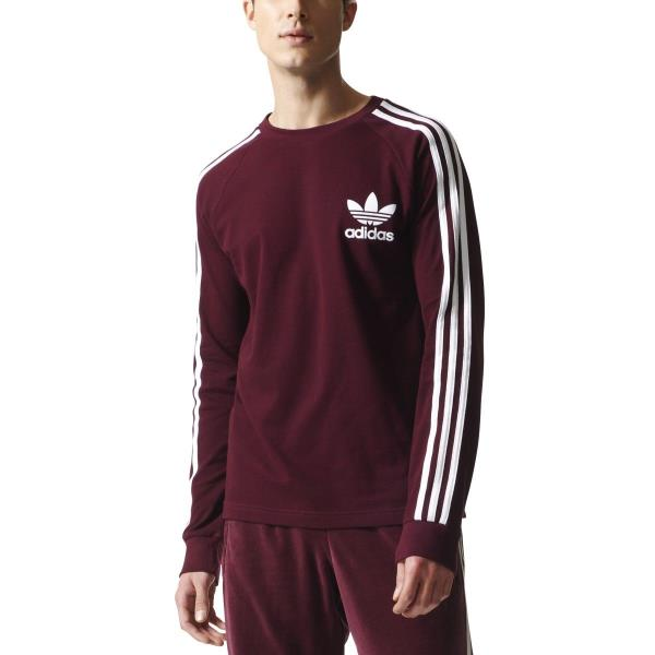 BR2050  Mens Adidas Originals 3-Stripes Pique Long Sleeve Shirt - Maroon 59f984cdad3