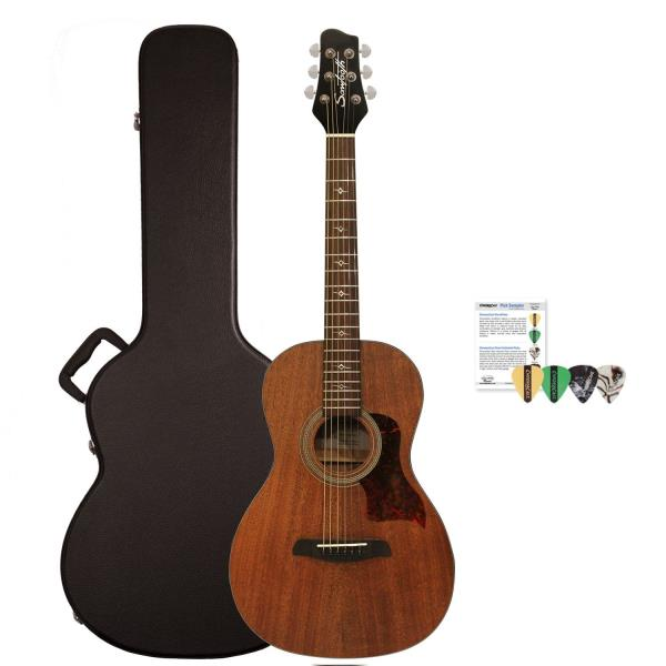 f89d2591d3 Details about Sawtooth Mahogany Series Parlor Acoustic Electric Guitar with ChromaCast  Hard Ca