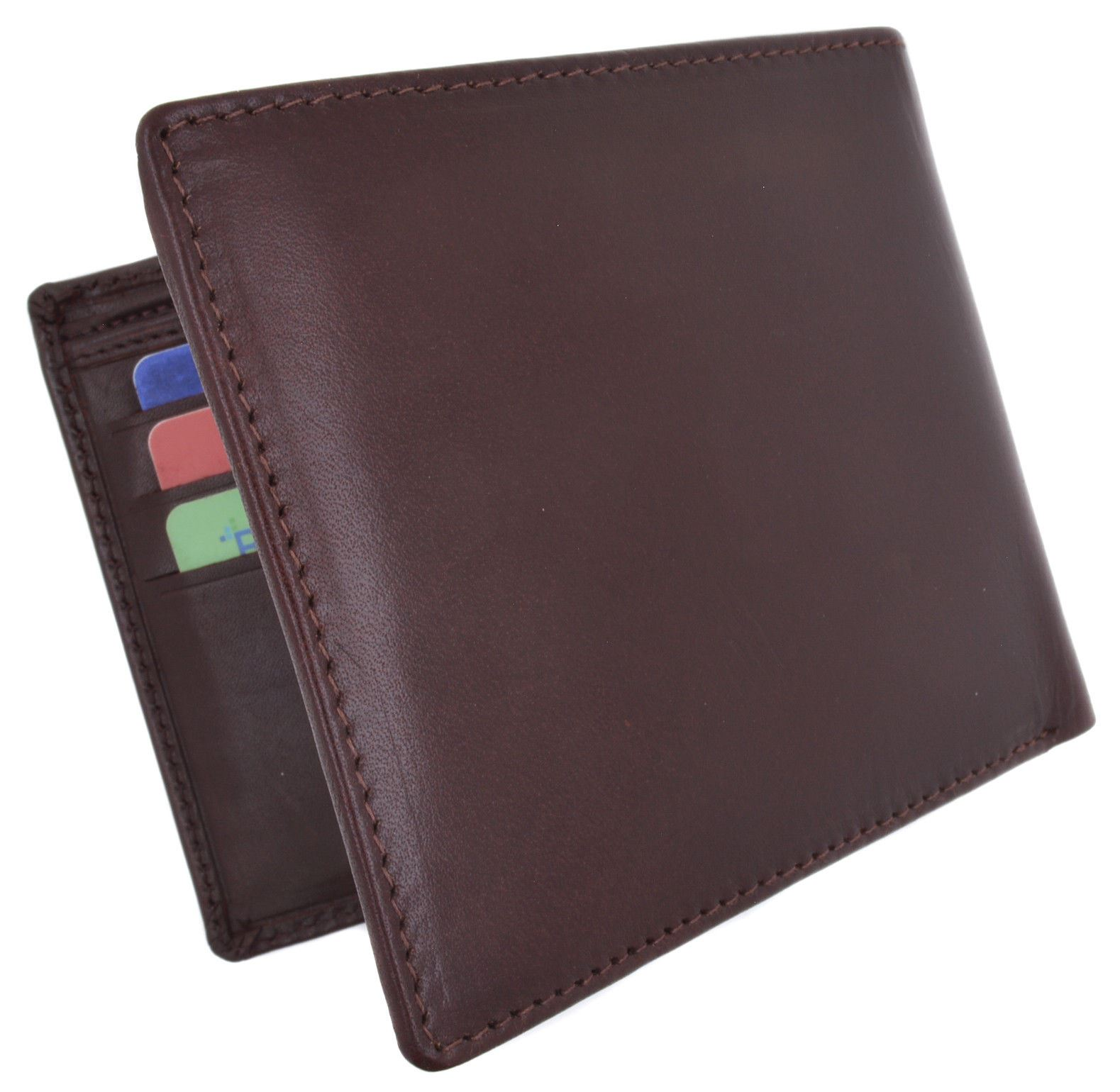 8d38f89e6750 Details about Moga Large Men's Genuine Leather Bifold Wallet With Coin Pouch