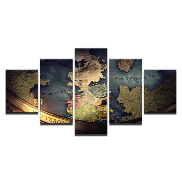 5 Panel Game Of Thrones Map Print Mediterranean Wall Art on Canvas ...