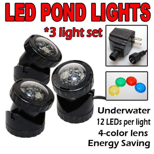 SUBMERSIBLE 3 LED POND LIGHT SET FOR UNDERWATER FOUNTAIN FISH POND